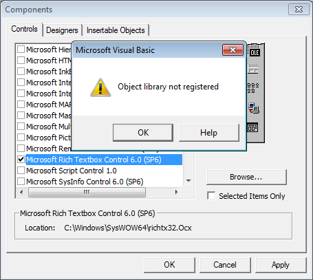 Microsoft Visual Studio ошибка: object library not registered